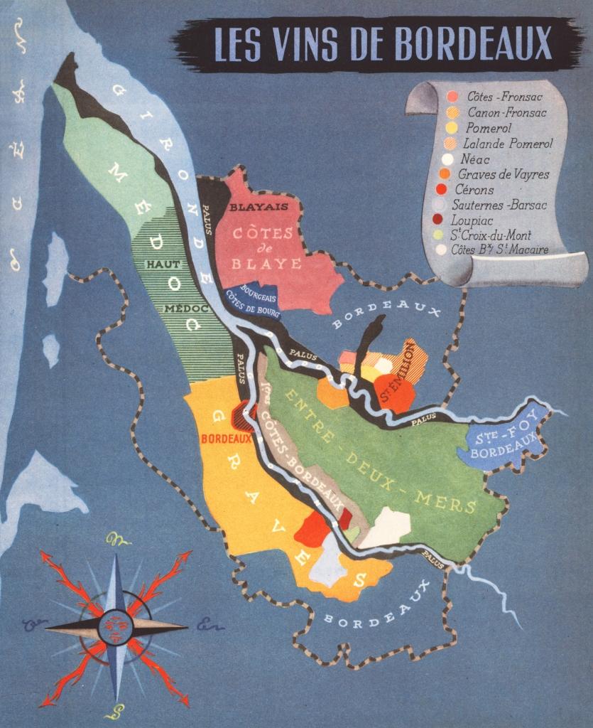 jolies cartes du vignoble bordelais, 1947 – david hairion, à
